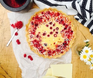 White chocolate, cardamom and raspberry tart recipe