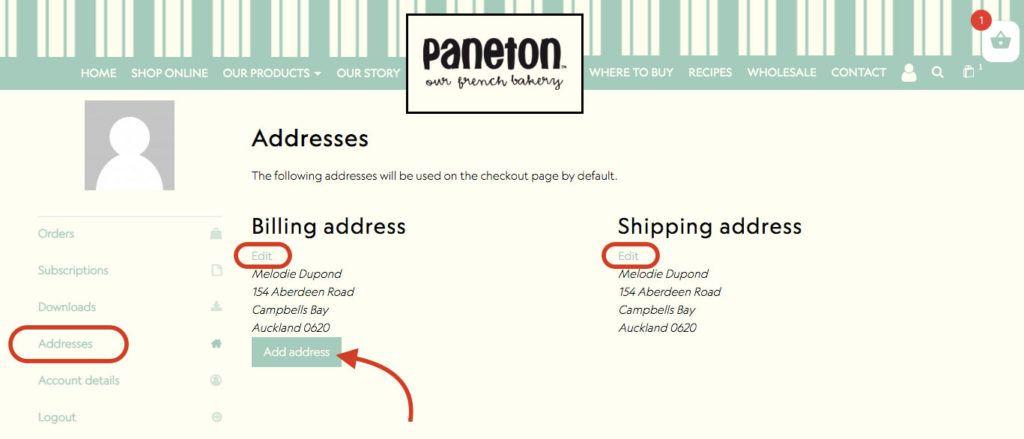 How to change address My account Paneton Bakery