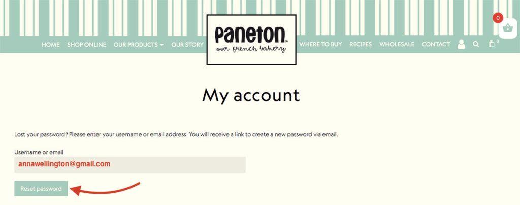 How to reset password my account Paneton Bakery