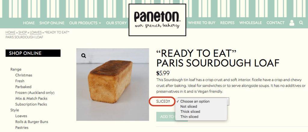 Option Sliced the bread Paneton Bakery