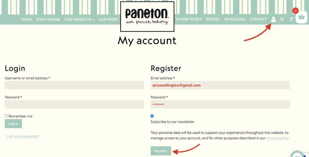 How to create an account Paneton Bakery