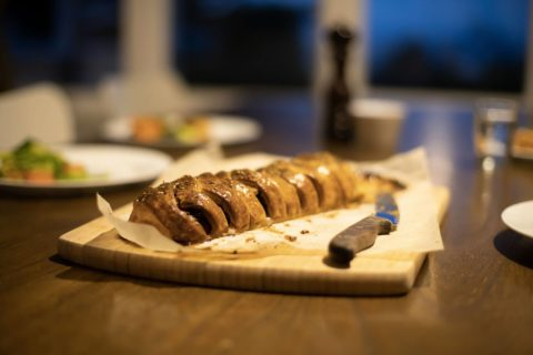 savoury pastry plaited roll