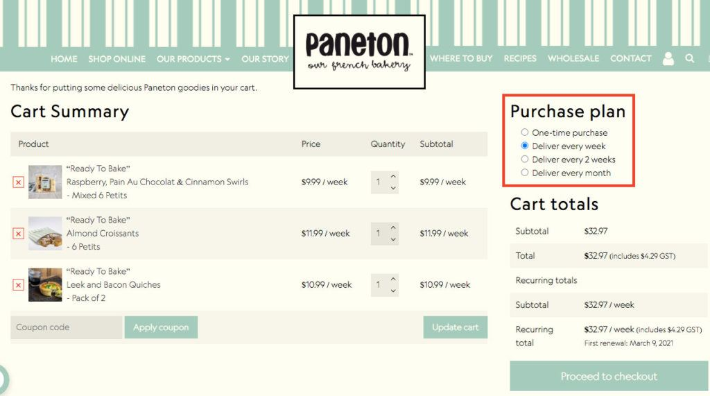 Subscriptions Purchase Plan